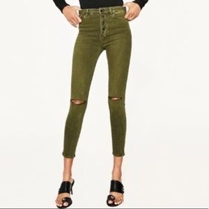Zara High Rise button fly distressed skinny jeans